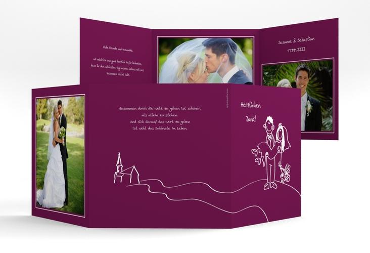 "Danksagungskarte Hochzeit ""Pisa"" Quadr. Karte doppelt"