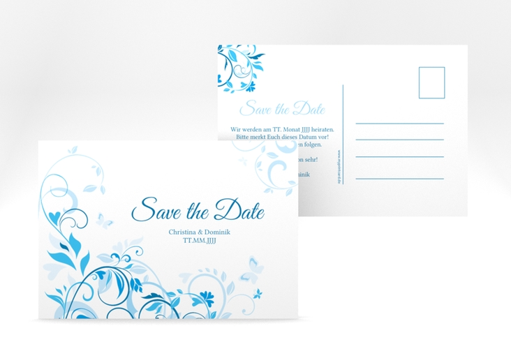 "Save the Date-Postkarte ""Lilly"" A6 Postkarte blau"