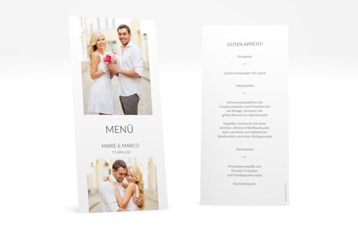 """Menükarte Hochzeit """"Vista"""" DIN lang hoch weiss"""