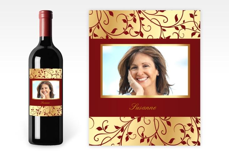 Weinflaschenetikett Ornament Rot-Gold Etikett Weinflasche 4er Set