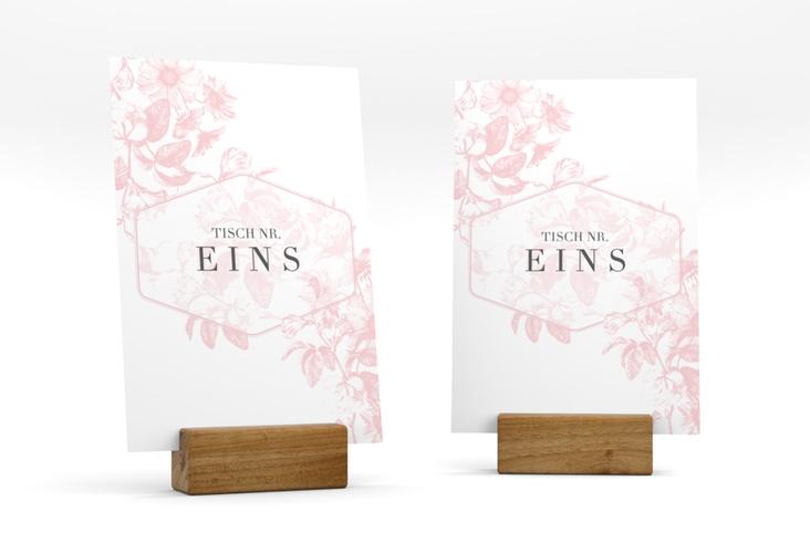"""Tischnummer Hochzeit """"Magnificent"""" Tischaufsteller rosa"""