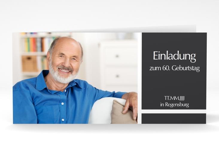 "Einladungskarte ""Gerd/Gerda"" DIN lang Klappkarte grau"