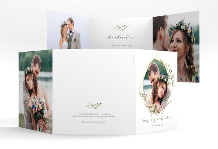 "Dankeskarte Hochzeit ""Acacia"" Quadr. Karte doppelt weiss"