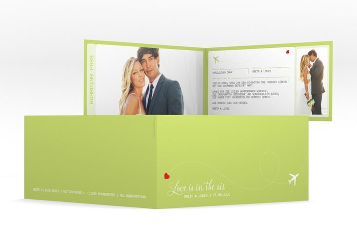 "Dankeskarte Hochzeit ""Weddingpass"" DIN lang Klappkarte gruen"
