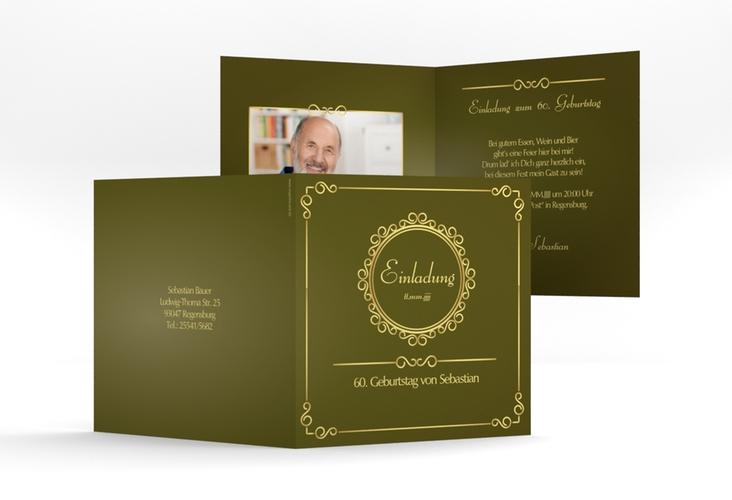 """Einladungskarte """"Bert/Berta"""" Quadratische Klappkarte gruen"""
