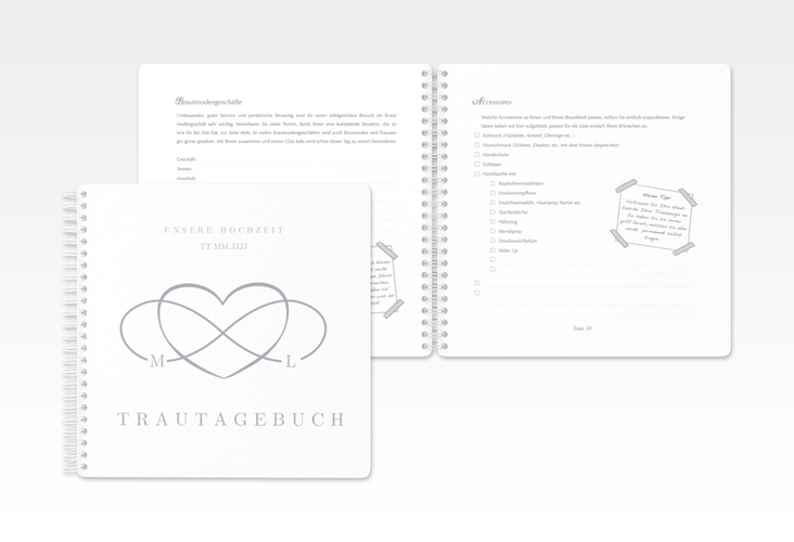 "Trautagebuch Hochzeit ""Infinity"" Trautagebuch Hochzeit grau"
