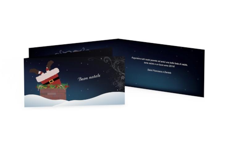 Biglietti natalizi camino DIN lang Klappkarte