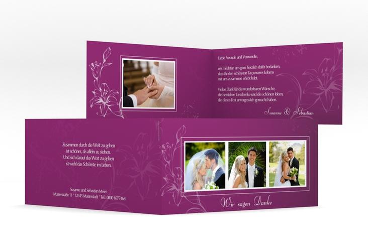 "Dankeskarte Hochzeit ""Lille"" DIN lang Klappkarte pink"