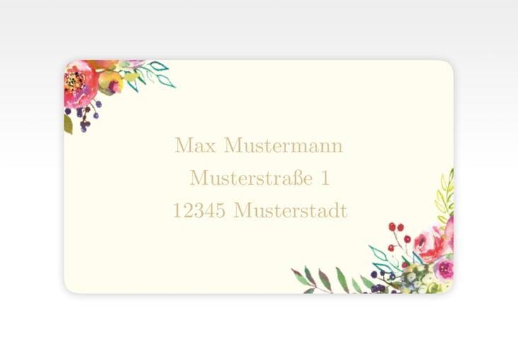 """Empfängeretikett Hochzeit """"Flowerbomb"""" 63,5 x 38,1 mm beige"""