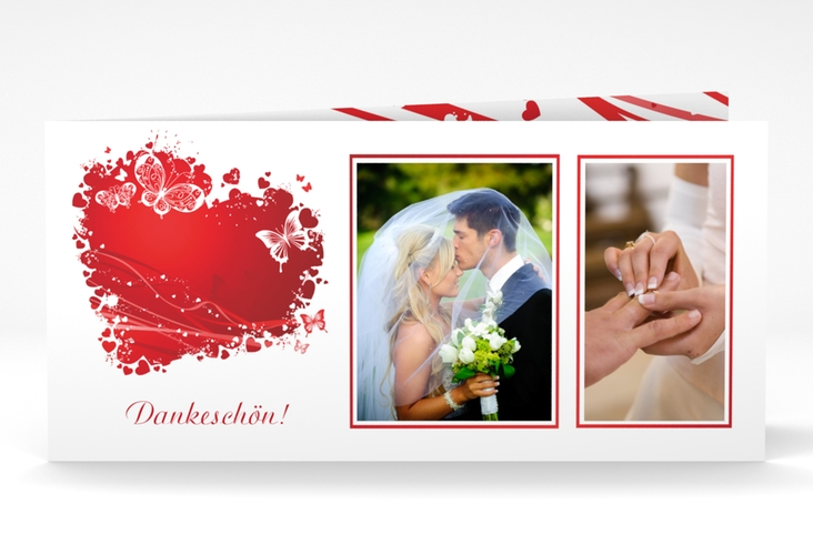 "Danksagungskarte Hochzeit ""Mailand"" DIN lang Klappkarte rot"