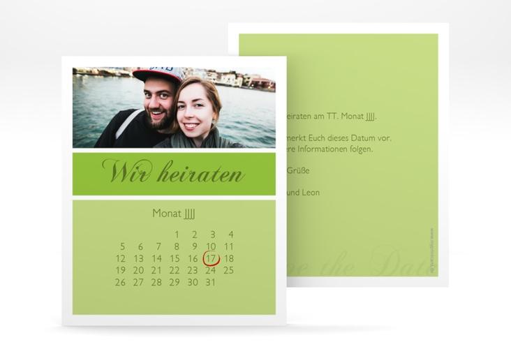 "Save the Date-Kalenderblatt ""Collage"" Kalenderblatt-Karte gruen"