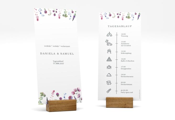 """Tagesablauf Hochzeit """"Wildblumen"""" DIN lang hoch weiss"""