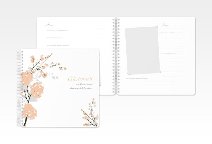 """Gästebuch Hochzeit """"Salerno"""" Ringbindung apricot"""