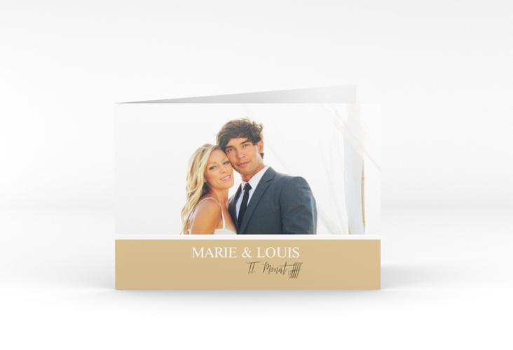 "Danksagungskarte Hochzeit ""Balance"" A6 Klappkarte Quer beige"