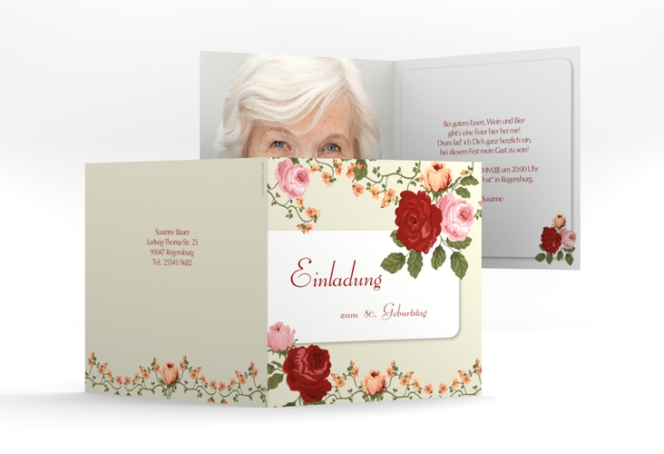 "Einladungskarte ""Rosemarie"" Quadratische Klappkarte"