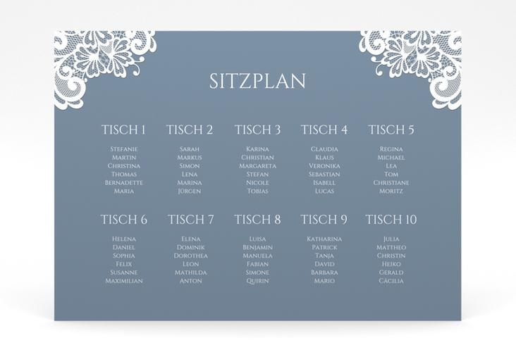 """Sitzplan Poster Hochzeit """"Vintage"""" 70 x 50 cm Poster blau"""