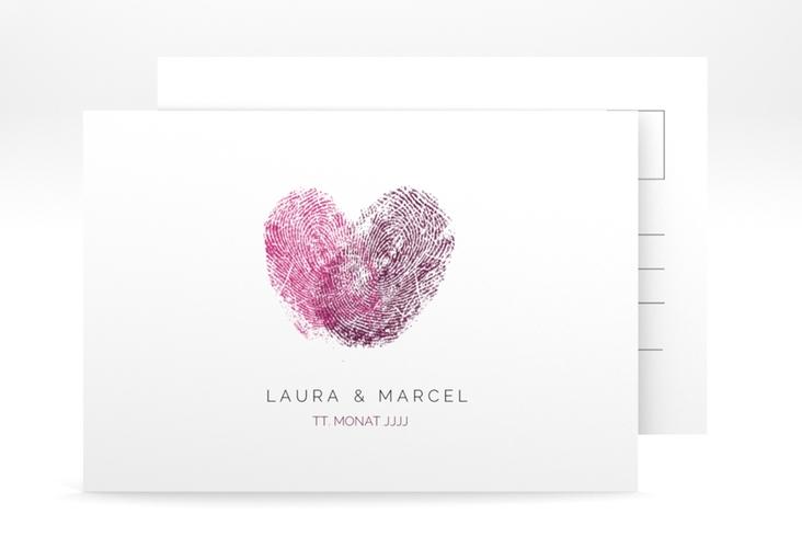 """Antwortkarte Hochzeit """"Fingerprint"""" A6 Postkarte"""