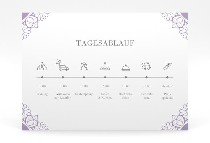 """Tagesablauf Poster Hochzeit """"Nostalgie"""" 70 x 50 cm Poster lila"""