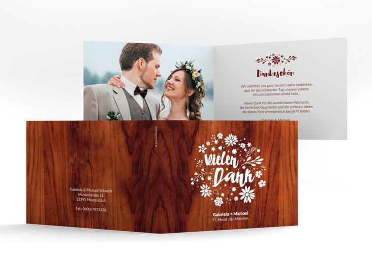 """Danksagungskarte Hochzeit """"Buttercup"""" A6 Klappkarte Quer rot"""