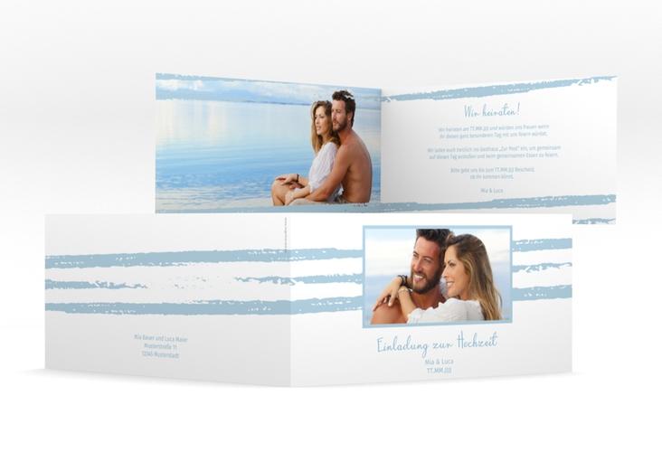 """Hochzeitseinladung """"Mare"""" DIN lang Klappkarte blau"""
