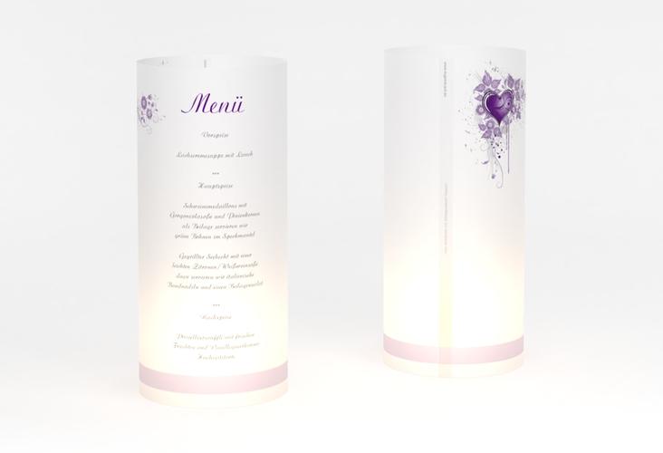 """Windlicht Menü Hochzeit """"Triest"""" Windlicht lila"""