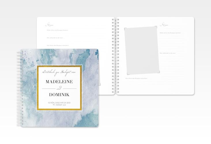 "Gästebuch Hochzeit ""Marble"" Ringbindung blau"