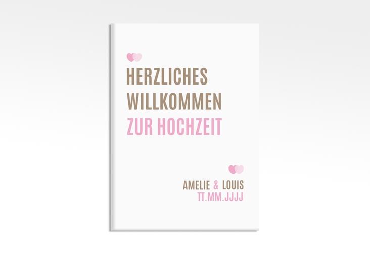 """Willkommenschild Hochzeit """"Couple"""" 50 x 70 cm Leinwand rosa"""