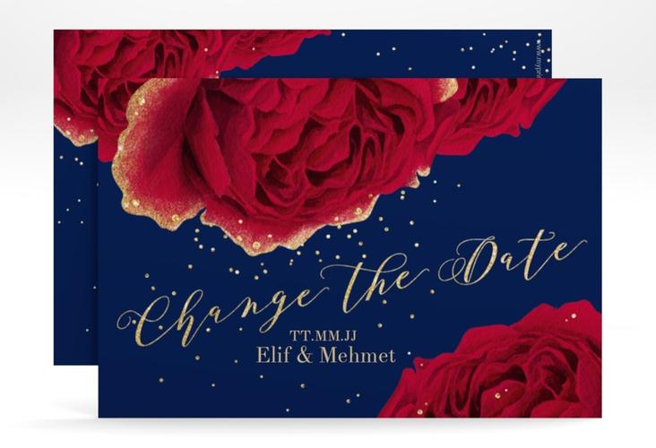 """Change the Date-Karte """"Cherie"""" A6 quer blau"""