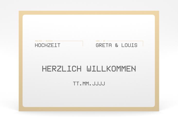 """Willkommensschild Poster """"Weddingpass"""" 70 x 50 cm Poster beige"""