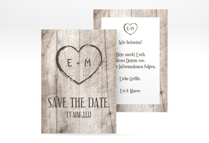 "Save the Date-Visitenkarte ""Wood"" Visitenkarte weiss"