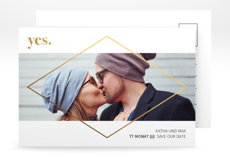 "Save the Date-Postkarte ""Yes"" A6 Postkarte gold"