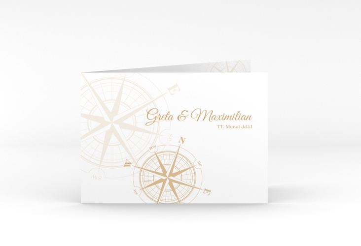 """Dankeskarte Hochzeit """"Windrose"""" A6 Klappkarte Quer beige"""