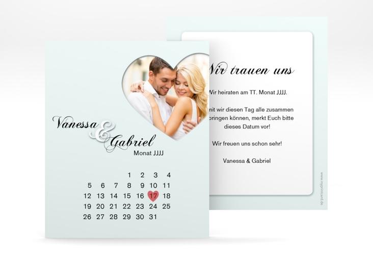 "Save the Date-Kalenderblatt ""Sweetheart"" Kalenderblatt-Karte tuerkis"