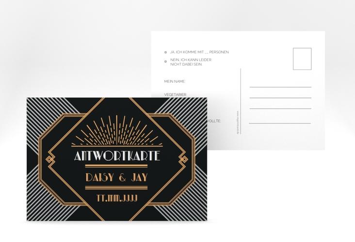 "Antwortkarte Hochzeit ""Gatsby"" A6 Postkarte schwarz"