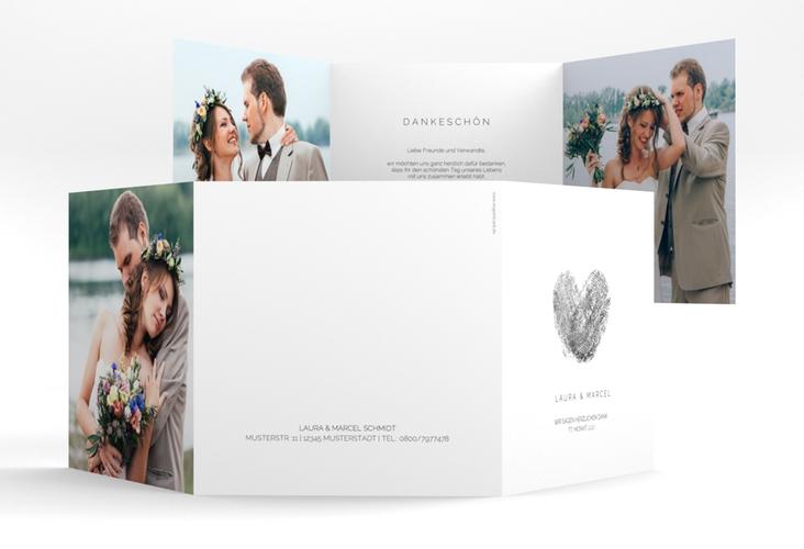 """Dankeskarte Hochzeit """"Fingerprint"""" Quadr. Karte doppelt schwarz"""