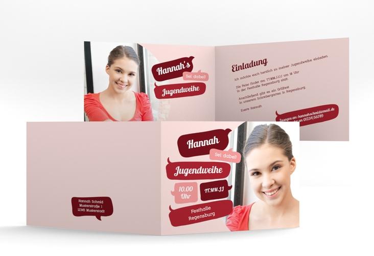 "Einladungskarte Jugendweihe ""Grownup"" A6 Klappkarte Quer rot"