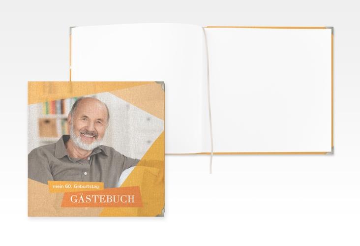 "Gästebuch Selection Geburtstag ""Shapes"" Leinen-Hardcover orange"