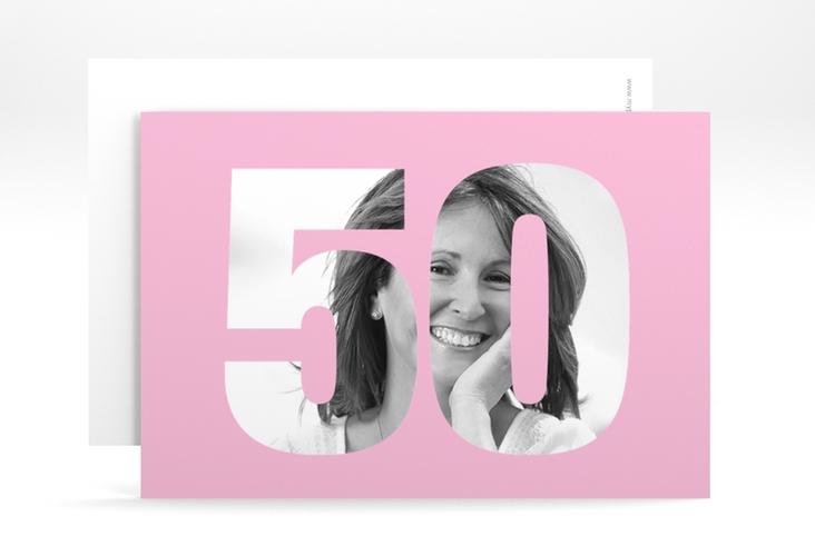 "Einladungskarte ""Numbers"" A6 quer rosa"