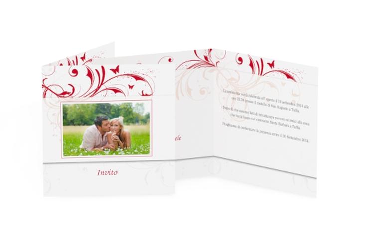 Inviti matrimonio collezione Palma Quadratische Klappkarte rosso