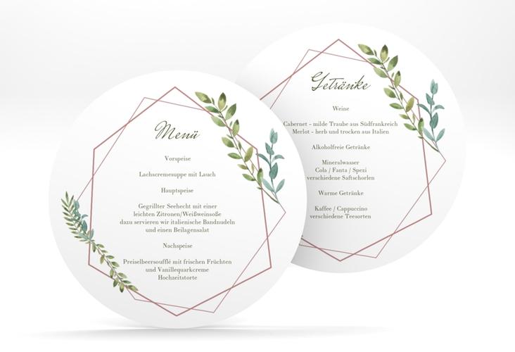 """Menükarte Hochzeit """"Herbarium"""" rund rosa"""