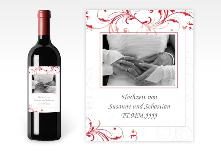 """Weinflaschenetikett Hochzeit """"Palma"""" Etikett Weinflasche 4er Set rot"""