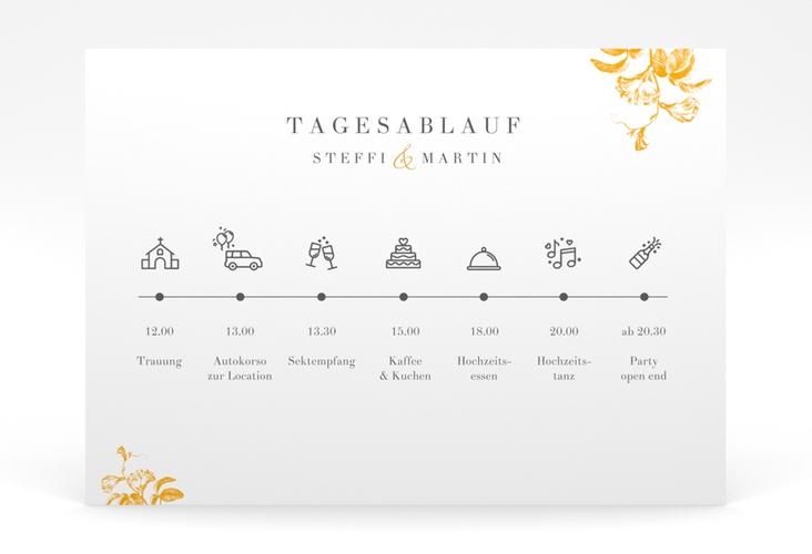 """Tagesablauf Poster Hochzeit """"Magnificent"""" 70 x 50 cm Poster gelb"""