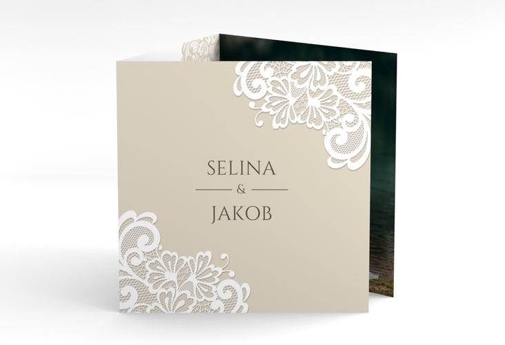 "Dankeskarte Hochzeit ""Vintage"" Quadr. Karte doppelt beige"