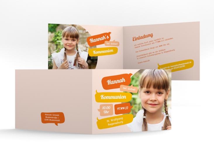 """Einladung Kommunion """"Speak"""" A6 Klappkarte Quer orange"""