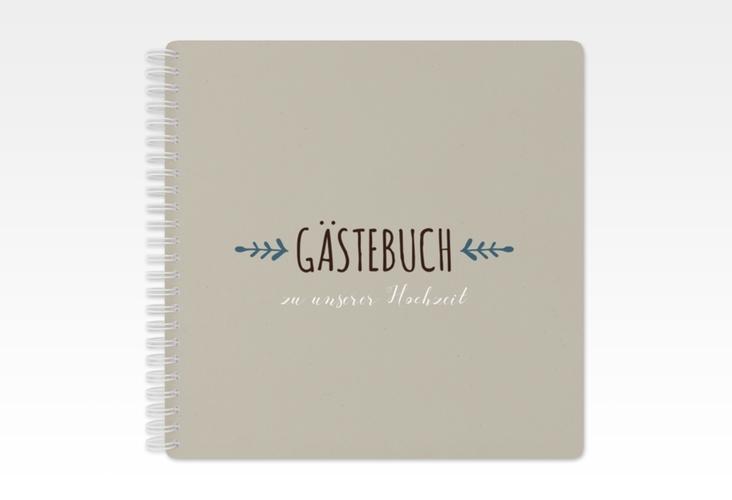 """Gästebuch Hochzeit """"Eden"""" Ringbindung blau"""