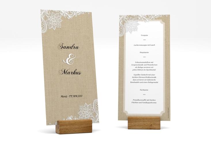 "Menükarte Hochzeit ""Lace"" DIN lang hoch beige"