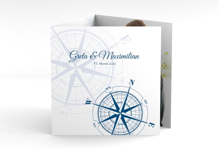"""Dankeskarte Hochzeit """"Windrose"""" Quadr. Karte doppelt"""