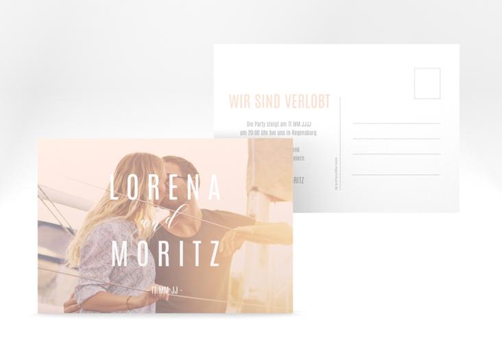 """Verlobungskarte Hochzeit """"Memory"""" A6 Postkarte rosa"""