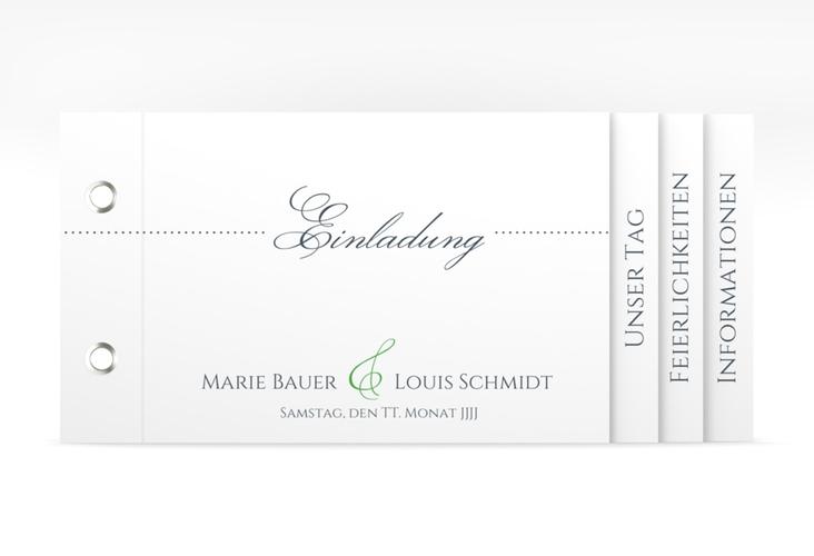 """Hochzeitseinladung """"Pure"""" Booklet gruen"""