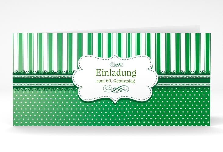 """Einladungskarte """"Heinrich/Henriette"""" DIN lang Klappkarte gruen"""
